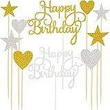 Maitys 28 Stücke Alles Gute zum Geburtstag Kuchen Topper Glitter Geburtstag Cupcake Picks Torte Topper Picks für Geburtstagsfeier Dekoration