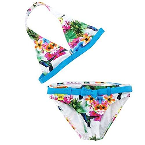 Mädchen Bikini Kinder Mädchen Baby 2tlg Neckholder Fransen Bikini Tankini Set Schwimmanzug Badeanzug Bademode (134/140, Blau)