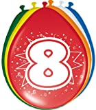 KULTFAKTOR GmbH 8. Geburtstag Luftballons Party-Deko 8 Stück Bunt 30cm Einheitsgröße