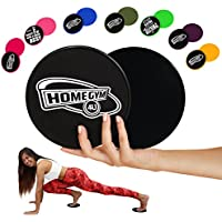 HomeGym 4U Set of 2 Gliding Discs, Dual Sided Sliders for Carpet or Hardwood Floor - Great Addition to Your Home Fitness Equipment - Core Workout Abdominal Exercise, Crossfit Routine, Cardio Training (Black)