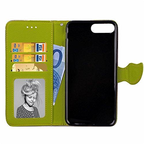 iPhone Case Cover Blatt-magnetischer Verschluss-Muster PU-lederner Kasten-Mappen-Standplatz-Fall für Apple iPhone 7 Plus ( Color : Brown , Size : IPhone 7 Plus ) Brown