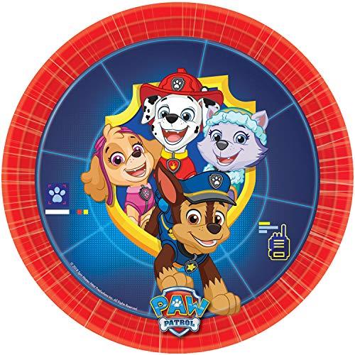 amscan 9903826 8 Teller Paw Patrol, Mehrfarbig (Kinder Abenteuer Mal Kostüm)