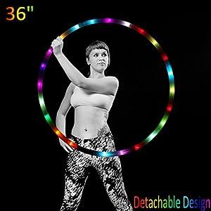 LED Hula Hoop Reifen Fitness Erwachsene 1,3KG Tanz & Fitness Glow Light Up Hula Hoops, 24 Farbe Strobing Changing, 8 Abschnitt abnehmbares Design, Tragbare Hula Hoops 36″(Batterien Nicht enthalten)