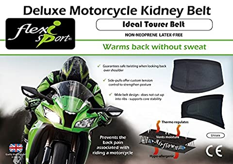 Motorbiker Kidney Belt (M/Unisex) Warms back without SWEAT. Power - Strength - Endurance. Supports back & helps prevent back pain.
