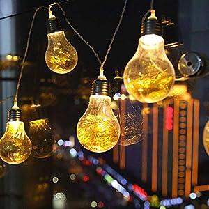 Edison Bulb String Light, DINOWIN 20 LEDs Clear Bulb Lights-Battery Powered-Indoor/Outdoor Fairy Lights for Patio,Café Bars,Garden Backyard Gazebos Bedroom Pergola Umbrella Wedding Dinner Party Decoration from DINOWIN