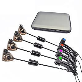 Kit de pêche à la carpe Hirisi Tackle®, 4 prises avec indicateur lumineux et étui protégé par une fermeture éclair