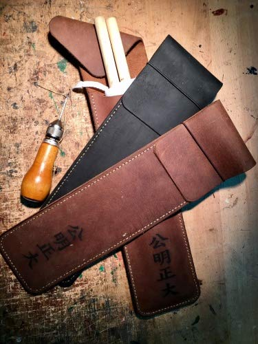 Kendo24 Fahnentasche KOUMEI   Die Tasche für Deine Kampfrichterfahnen   Handgefertigte Ledertasche   Echtem Leder Farbe schwarz -