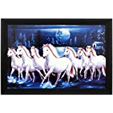 ART N HUB 7 Horse Textured UV Effect with Acrylic Glass Painting - Abstract Modern Art Home Wall Décor Hangings Gift Items
