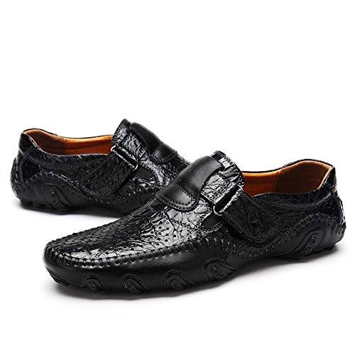 Opuman Hommes Casual Retro loafers mocassins en cuir souple Driving Octopus poinçonnage des chaussures Noir