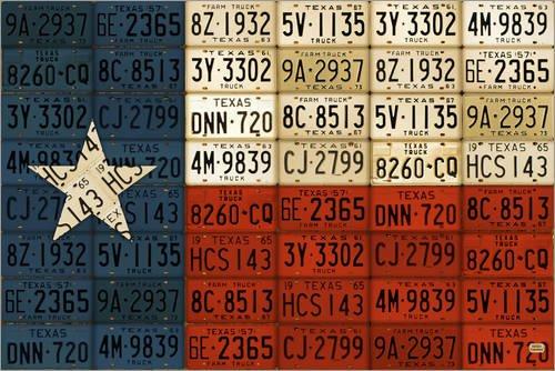 Holzbild 60 x 40 cm: Flagge von Texas License Plate Art von Design Turnpike