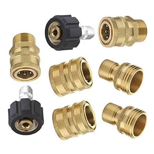 """8pcs Ultimate Hochdruckreiniger Adapter Kit Auto Spritzpistole Anschluss Set M22 3/8\'\' Quick Connect 3/4\"""" Schnellspanner"""