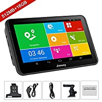 SAT NAV GPS Navigation System, Jimwey 7 Inch Android 16GB 512MB Capacitive IPS Touch Screen Car Truck Lorry Satellite Navigator Device with Post Code Search Speed Camera Alerts, Include Pre-installed UK and EU Latest 2018 Maps with Lifetime Free Updates (