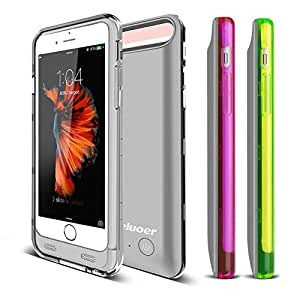 Keluoer Iphone 6s Battery Case Iphone 6 Battery Case 3100mah Ultra-slim Pack Power Bank Backup Charger Case for Iphone 6s /6 4.7 Inch with 3 Extra Bumper (Sliver with White Green Purple Bumper)