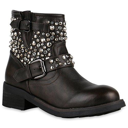 Stiefelparadies Damen Stiefeletten Biker Boots Nieten Strass Leder-Optik Schuhe 127920 Dunkelbraun 40 Flandell