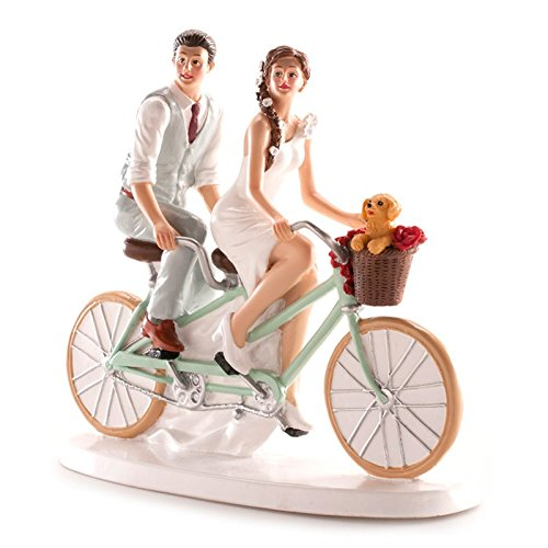 Figures ENGRAVED wedding grooms bicycle for pastel cake PERSONALIZED bike
