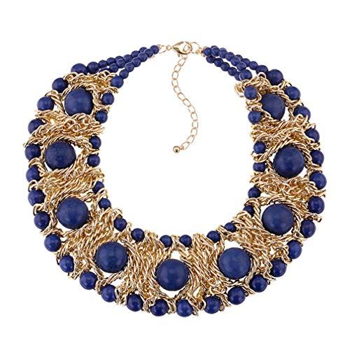 Yazilind Frauen Türkis Halskette Gold Plated Extender Kette Schmuck klobig übertrieben Boho Retro Ethnic (Navy)