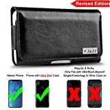 J&D [Revised Edition] iPhone X Holster, PU Leather Holster Pouch Case with Belt Clip, Leather ID Wallet Case for Apple iPhone X (Only Fit with Naked Phone Slim Case or other Ultra-Slim Case On)