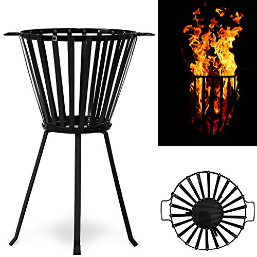 *Großer XL Feuerkorb mit Griffen – aus pulverbeschichtetem Stahl – Feuerschale Feuerstelle*