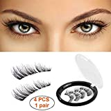Magnetic False Eyelashes [No Glue] 1 Pair Magnetic Lashes 3 Magnets Fake Eye Lashes 3D Reusable Soft Fake Eyelashes Extensions For Natural Look and Women/Ladies Making Up