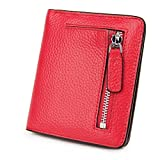 S-ZONE Pelle di cuoio genuino per abiti a barre RFID bloccanti a tasca piccola borsa portafoglio compatta con supporto monete e finestra di immagine