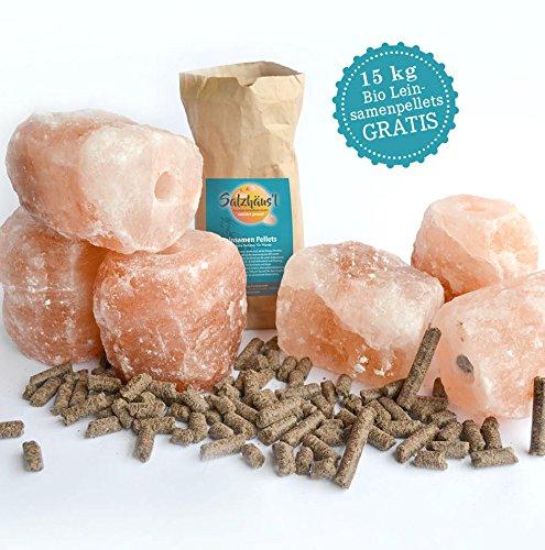 Salzleckstein Kristallsalz 6er-Set (je 2-3 kg) Mineralleckstein mit Kordel & GRATIS Bio-Leinsamen Pellets 15 kg