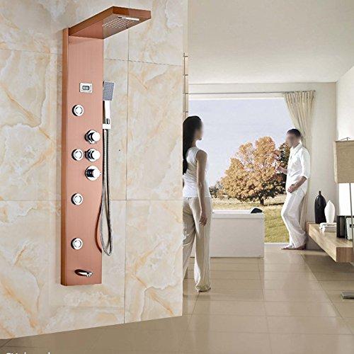 Galvanik Retro Wasserhahn Thermostatmischer Ventil Rose goldene Dusche Panel Wasserfall Regendusche Set Massage System Handbrause Turm Dusche Spalte, dunkles Khaki -