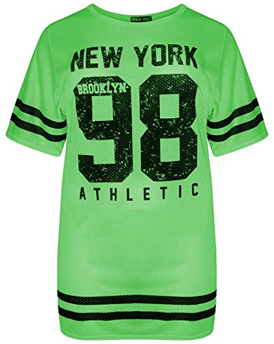 216b7e062dbe Neu Damen Neon Grün AirTech Varsity Baseball Baggy T-Shirt Tops 98 Newyork  Neon Green 36-38