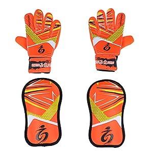 LIOOBO Torwarthandschuhe mit Torwart-Pads Kinder-Torwart-Ausrüstungsset für Fußball-Eishockey (Orange)
