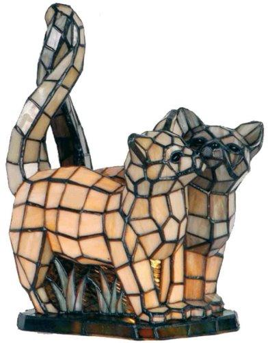 Lumilamp 5LL-1187 Tiffany Stil Katzen Lampe/Tischleuchte Figurlampe Buntes Glas Natur/Braun 27 * 18 * 35 cm 1x E14 max 40w