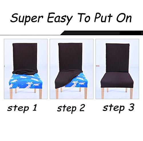 6x morbido spandex elasticizzato Fit sedie da sala da pranzo con motivo stampato, banchetto sedia sedile Slipcover per Hone party hotel cerimonia di nozze Posate da pasto B - 7
