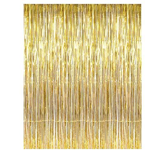 Anyasen Lametta Vorhang Lametta Gold Lametta Vorhang Gold girlanden Gold Party Lametta Vorhang Gold Lametta vorhänge glitzervorhang Gold (Gold)