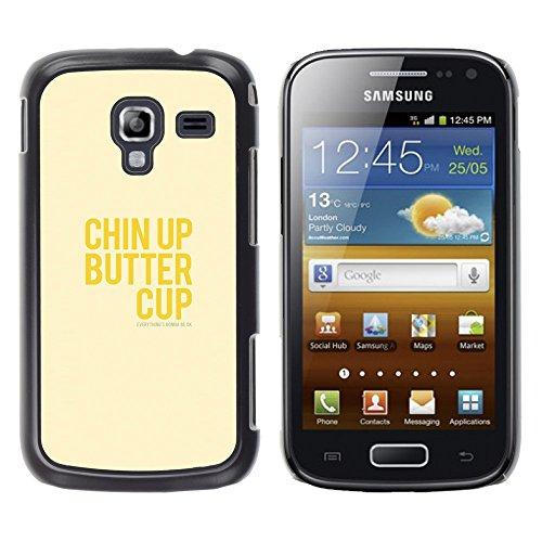 WonderWall Tapete Bunt Bild Handy Hart Schutz hülle Case Cover Schale Etui für Samsung Galaxy Ace 2 I8160 Ace II X S7560M - optimistisch glücklich positive gelben Text