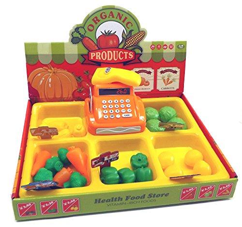 Brigamo 8323 - Hofladen Kinder Kaufladen mit Kasse, Spielzeug Obst und Gemüse thumbnail