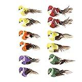 Demiawaking 12pcs Uccelli Decorativi con Clip Uccellini Finti con Piume Uccelli Artificiali Uccelli di Simulazione Ornamenti da Giardino Decorazioni per Matrimonio Feste