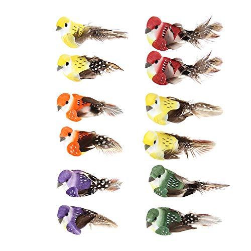 Demiawaking 12 Bunte künstliche Vögel auf Clips Federschaum Vögel zum Basteln Garten Vogel Ornamente Zuhause Party Dekoration -