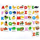 Leegoal Alphabet Letters Matching Fruit Puzzle ABC Flash Cards, Early Education Letter Cognitive Toys for Kids Prechool Toddlers