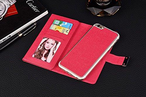 iPhone Case Cover Solid Color 3 Falten Leder Geldbörse mit Kartenfach und Foto Fenstermuster Magnetische Wölbung Design für IPhone 7 Plus ( Color : Rose , Size : IPhone 7 Plus ) Rose