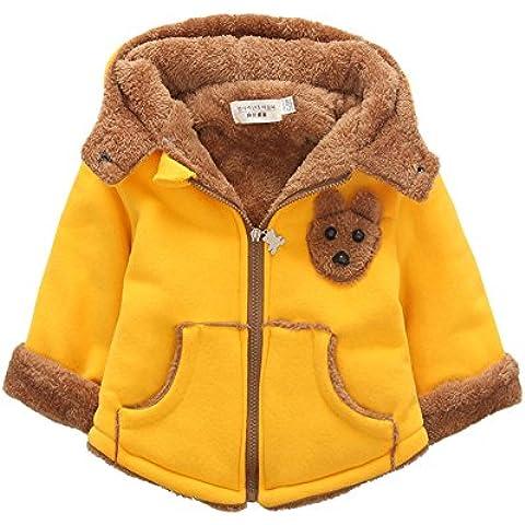 SaiDeng Niñas Niños Patrón De Oso Cremallera Espesar Encapuchado Abrigo Amarillo 80
