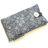 Handytasche aus Stoff - ZWEIGE AUF GRAU - mit Knopf für APPLE iPhone 8 , 7 , 6s und 6 - gepolsterte Handyhülle - Geschenk Weihnachten Geburtstag - Smartphone-Hülle - Handy-Tasche / Handy-Hülle - iPhone-Tasche / iPhone-Hülle - Baumwolle - waschbar - cotton case / sleeve