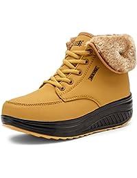 Minetom Mujer Invierno Impermeable Botas Suave Caliente Forro De Felpa Botines Cuña Zapatos Con Suela Antideslizante Calzado Deportivo