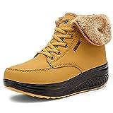 Minetom Damen Warm Ankle Boots Wasserdicht Stiefeletten Plüsch Gefütterte Winterstiefel Plateau Freizeitschuhe Schneestiefel Winter Schuhe Gelb EU 40