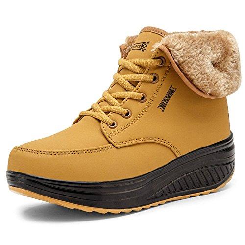 Minetom Mujer Invierno Impermeable Botas Suave Caliente Forro De Felpa Botines Cuña Zapatos Con Suela Antideslizante Calzado Deportivo Amarillo EU 39