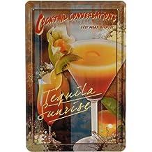 Cartel de chapa Cocktail Tequila Sunrise 20 x 30 cm Publicidad Retro 676