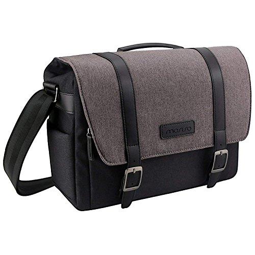 Mosiso fotocamera borsa, grande spalla cover messenger per fotocamere digitali reflex / dslr (nikon, canon, sony, pentax, olympus panasonic, samsung e molti altri), macbook laptop e altri accessori, nero