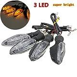 Yongse 4pcs 12V Universal Motorrad Fahrrad 3 LED Blinker Blinker Kontrollleuchte Lampe