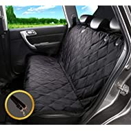Alfheim Dog Nonslip Back Seat Cover with Anchors and Adjustable Pet Dog Car Seat Belt, Black, L
