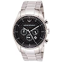 Emporio Armani Men's Black Dial Stainless Steel Band Watch - Ar0585, Silver Band, Analog Display