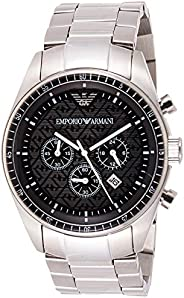 Emporio Armani Men's Black Dial Stainless Steel Band Watch - Ar0585, Silver Band, Analog Dis
