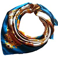 Oyedens Fashion Imitation Silk Square Scarves Bandana Scarf 90x90cm (Blue)