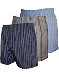 Lot de 3 caleçons boxers imprimés pour homme en polycoton  - Multicolore - Gris/bleu/etc. - XXL